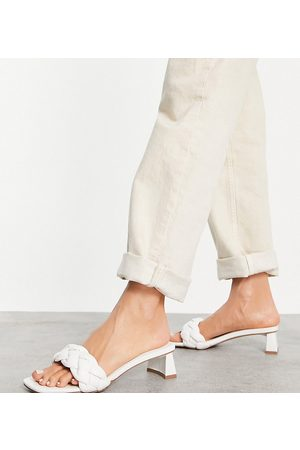 ASOS DESIGN Wide Fit Hosta weave mid heeled mules in white