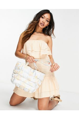 ASOS DESIGN Bandeau shirred mini sundress with pephem in self check in peach-Pink