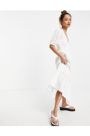 ASOS DESIGN Ženy Maxi - Broderie shirred waist lace insert maxi in white