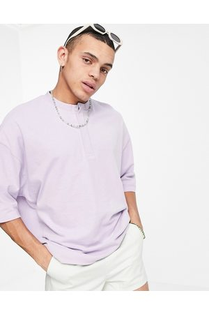 ASOS DESIGN Oversized heavyweight t-shirt with grandad collar in lilac-Purple