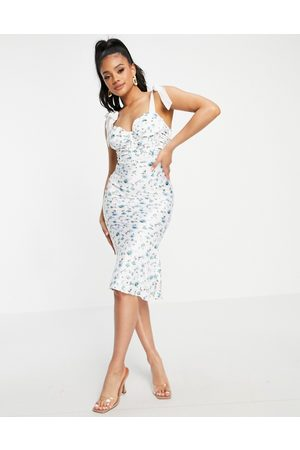 ASOS DESIGN Bunny tie corset ruched cupped satin midi dress with lace up back in ditsy floral print-Multi