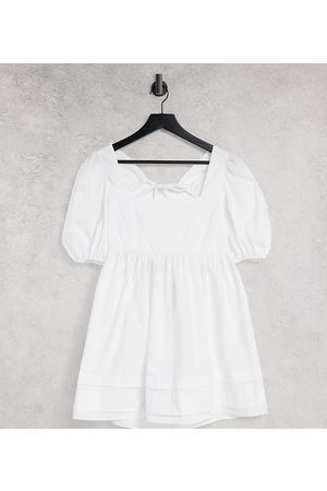 ASOS Petite ASOS DESIGN Petite cotton square neck mini smock dress with open tie back in white