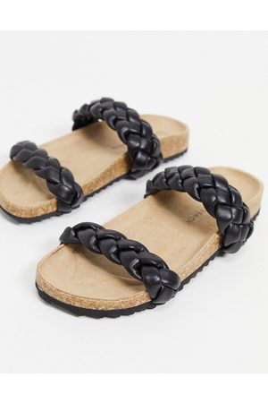 South Beach Plaited double strap slides in black