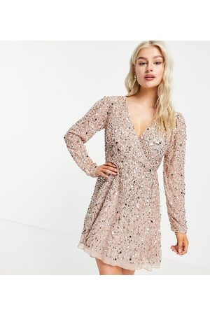 Maya Embellished mini wrap dress in blush-Pink