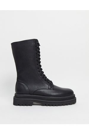 ASOS Lace up calf boots in black faux leather on chunky sole