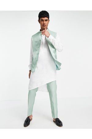 ASOS Wedding slim suit trousers in high shine green