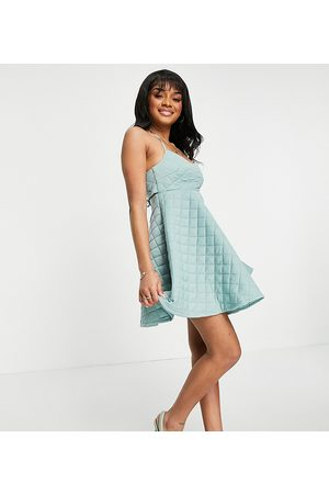 ASOS Petite quilted halter mini skater dress in mint-Green