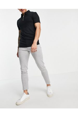 ASOS DESIGN Super skinny smart jogger in grey jersey with drawcord waistband