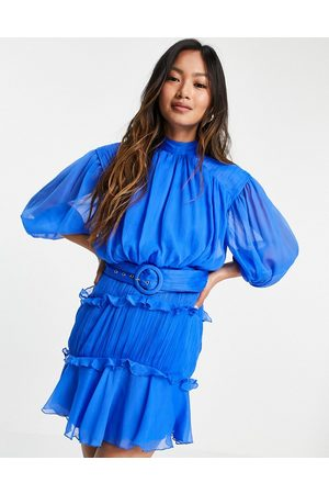 ASOS High neck mini dress with ruffle detail and belt-Multi