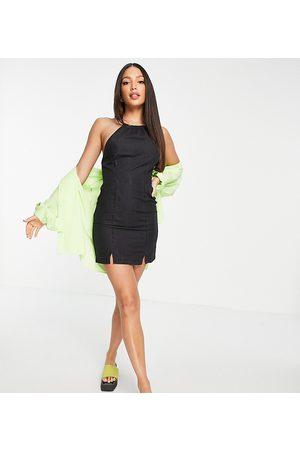 ASOS Ženy Volnočasové - ASOS DESIGN Tall soft denim halterneck slip dress in black