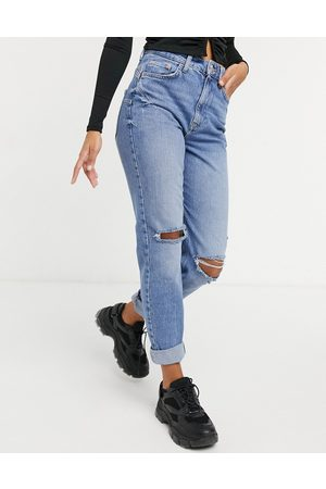 River Island Carrie ripped knee mom jeans in light auth blue