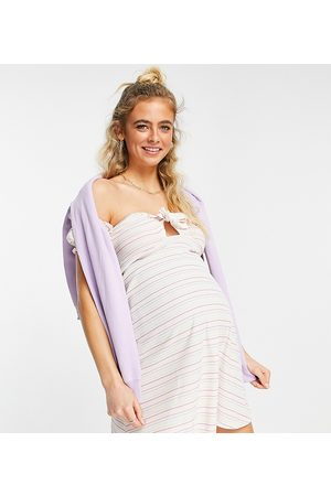 ASOS ASOS DESIGN Maternity mini ribbed bardot sundress in rainbow stripe-Multi