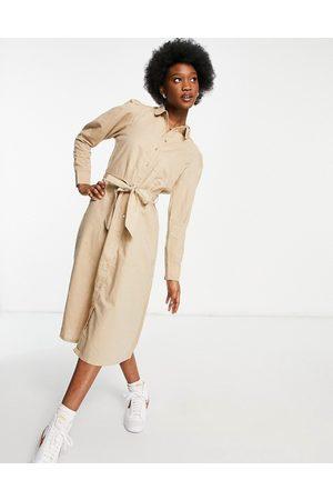 SELECTED Femme linen midi dress with tie waist detail in beige-Neutral