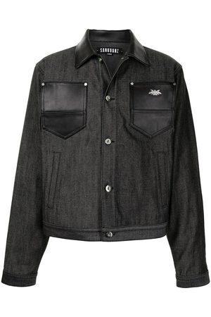 SANKUANZ Muži Kožené bundy - Leather-trimmed denim jacket