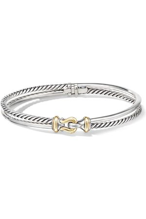 David Yurman Sterling silver and 18kt yellow gold buckle 2 row bracelet