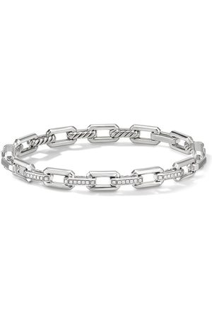 David Yurman Sterling silver 7mm Stax small link diamond bracelet