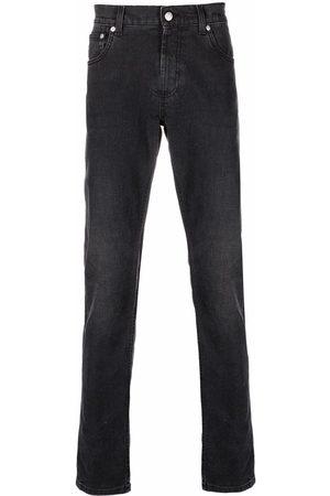 Alexander McQueen Muži Rovné nohavice - Logo-embroidered straight-leg jeans