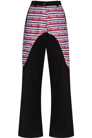 MARIAH ESA High-waisted panelled wide-leg trousers