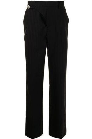 Marine Serre Pinstripe wrapped trousers