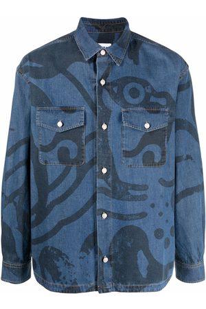 Kenzo Muži Džínové košile - Graphic-print denim shirt