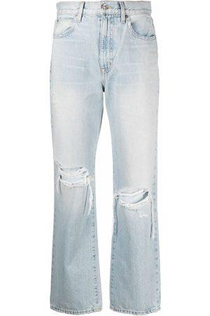 SLVRLAKE Ženy Rovné nohavice - Ripped detailing straight-legged cropped jeans
