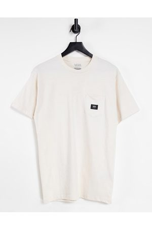 Vans Woven Patch Pocket t-shirt in cream-White