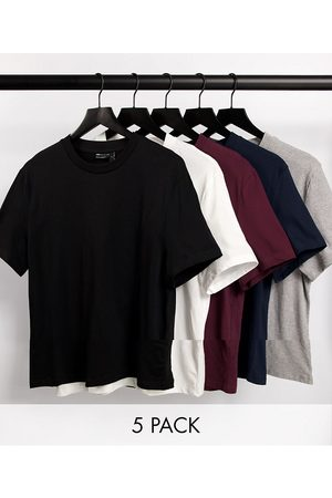 ASOS 5 pack t-shirt with crew neck-Multi