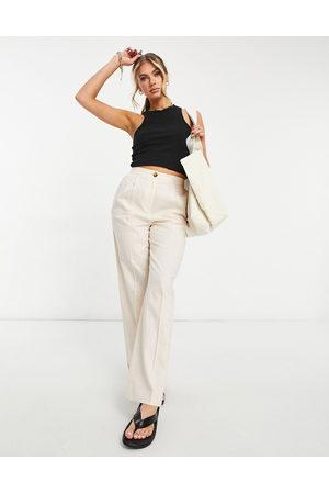 ASOS DESIGN Linen straight leg trouser in pink