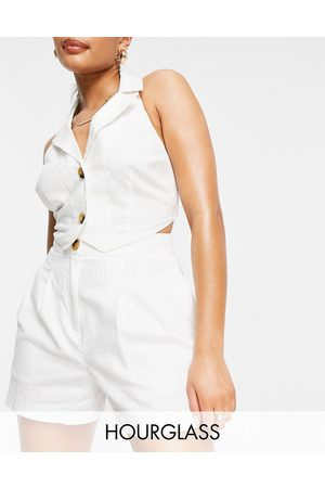 ASOS Hourglass clean linen suit shorts in white