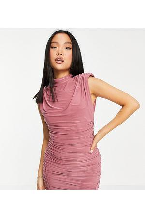 ASOS ASOS DESIGN Petite padded shoulder mini dress in dusky pink-Brown