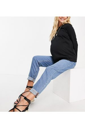 ASOS Ženy S vysokým pasem - ASOS DESIGN Maternity high rise farleigh 'slim' mom jeans in midwash with under the bump waistband-Blue