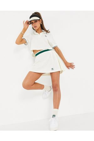 adidas Originals Tennis Luxe' logo pleated skirt in off white