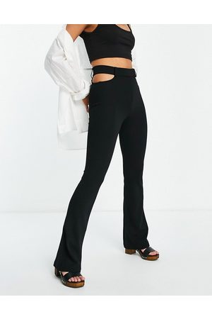 Bershka Side cut out tailored flare trouser in black