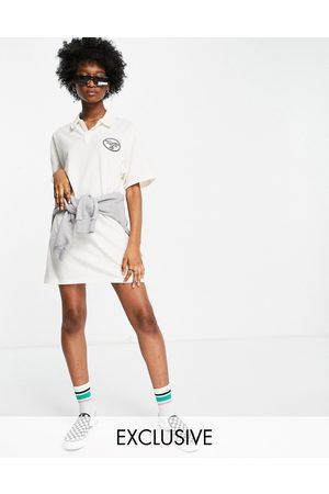 Reclaimed Vintage Inspired polo t-shirt dress-White