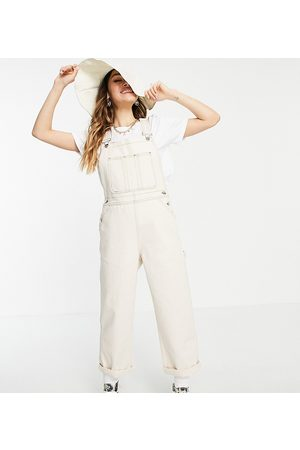 Reclaimed Vintage Ženy Overaly dlouhé - Inspired the full length dungaree in ecru-White