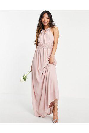 VILA Ženy Ke krku - Bridesmaid maxi halterneck dress in pink