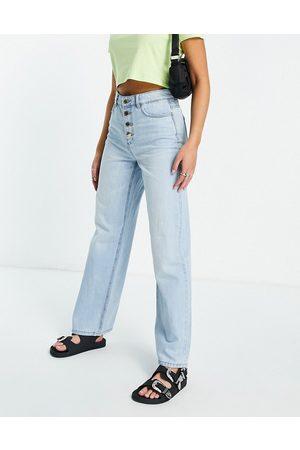 Only Ženy S vysokým pasem - Molly wide leg jeans with exposed buttons in light blue