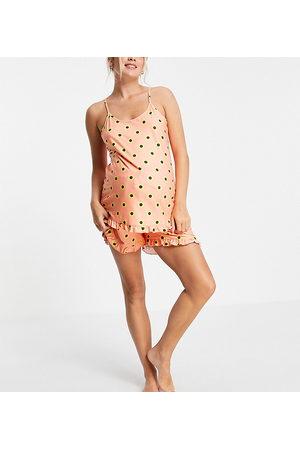 Loungeable Ženy Spodní prádlo soupravy - Maternity daisy frill cami and short pyjama set in peach-Orange