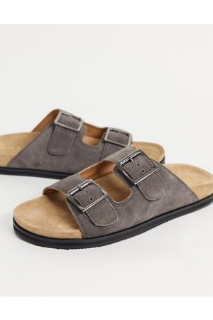 WALK LONDON Muži Sandály - Sunset double strap sandals in taupe suede-Grey