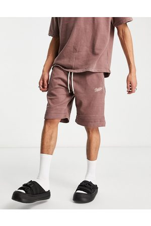 Pull&Bear Muži Kraťasy - Washed jersey shorts in brown co-ord