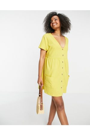 ASOS Button through mini smock dress with pockets in mustard-Yellow