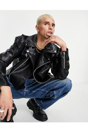ASOS Faux leather biker jacket in black