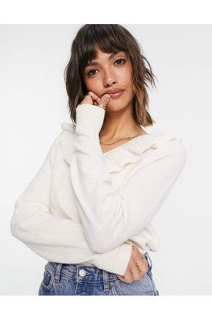 & OTHER STORIES Ženy Kardigany - Recycled wool frill neck line knitted jumper in off white