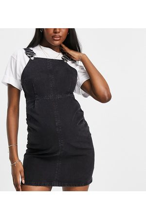 ASOS ASOS DESIGN Maternity dungaree pinny dress in washed black