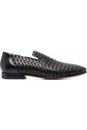 santoni Muži Nazouváky - Interwoven leather loafers