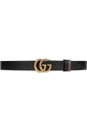 Gucci Muži Pásky - Double G buckle thin reversible belt