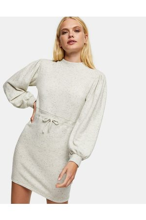 Topshop Ženy Na párty - Sweatshirt mini dress in oatmeal-White