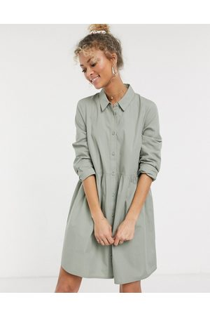 ASOS Ženy Volnočasové - Cotton mini smock shirt dress in khaki-Green