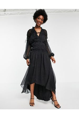 ASOS Tie neck maxi dress with blouson sleeve and multi channel waist in spot print
