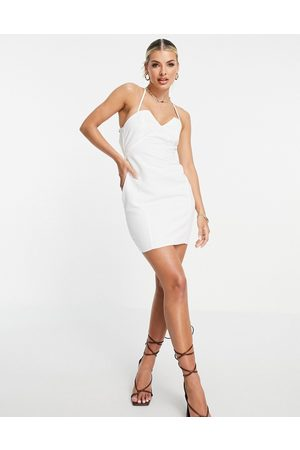 ASOS Structured mini dress with lace up back and square neck in white